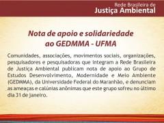 Nota de apoio da Rede Brasileira do Justiça Ambiental ao GEDMMA-UFMA
