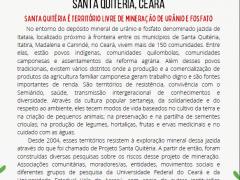 NOTA DE POSICIONAMENTO SOBRE A RETOMADA DO PROJETO DE MINERAÇÃO DE URÂNIO E FOSFATO EM SANTA QUITÉRIA, CEARÁ